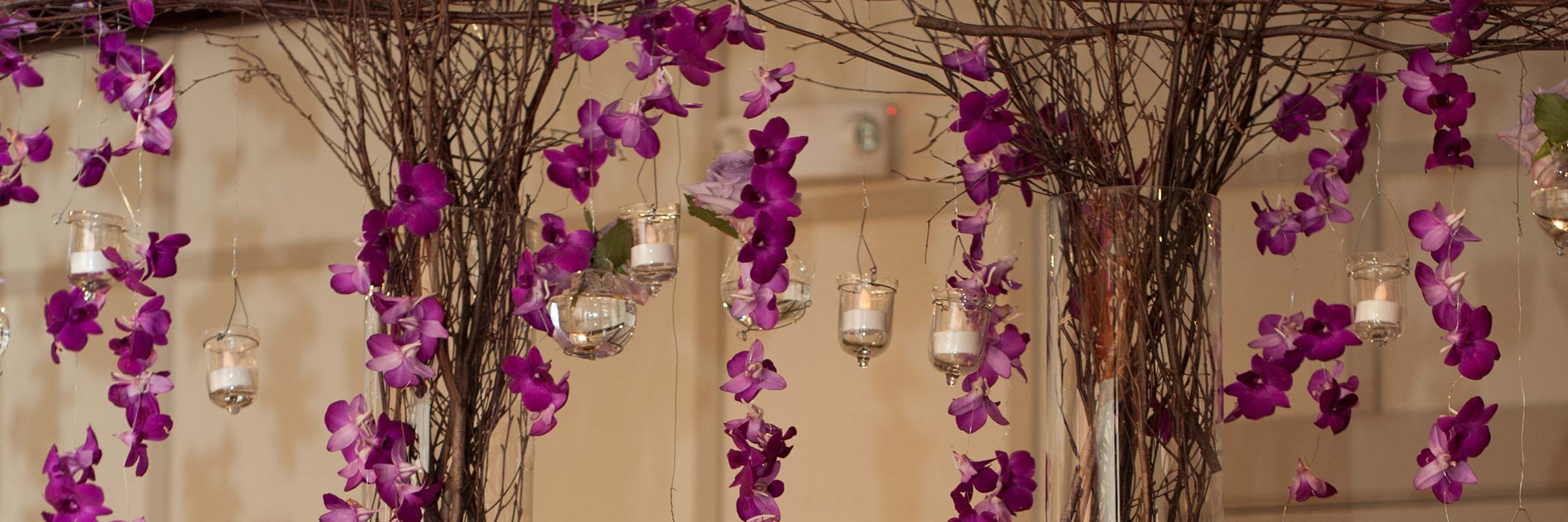 Candles Fresh Purple Hanging Flowers Branches