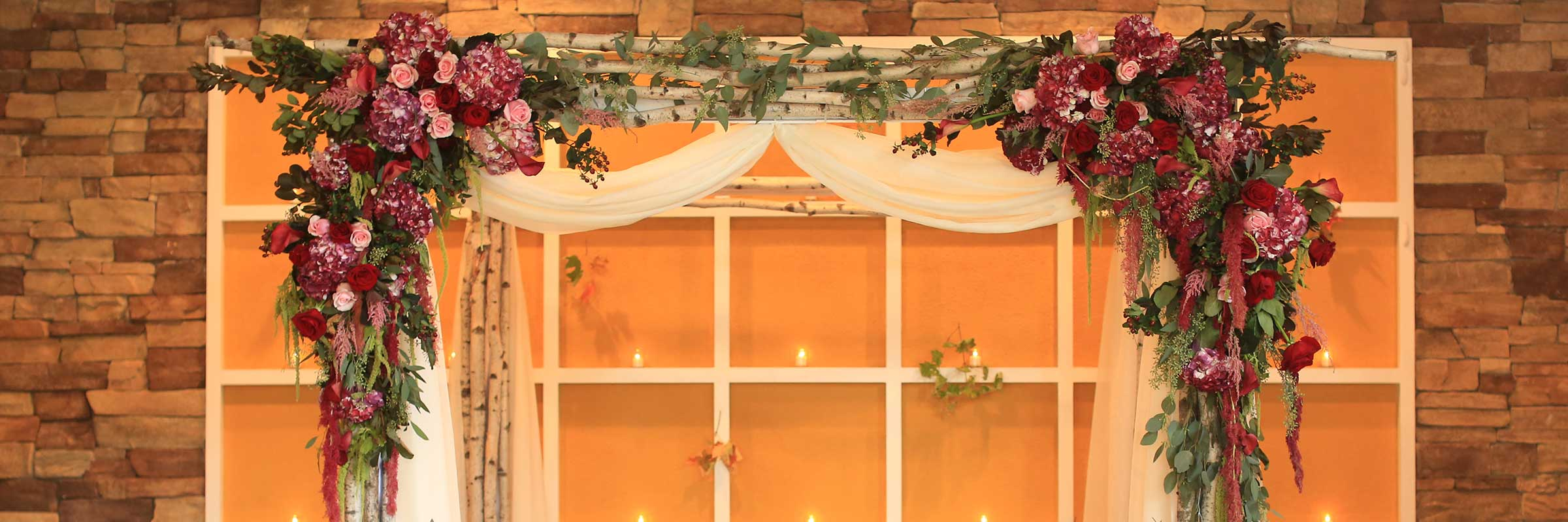 Fresh Flowers Birch Chuppah Wedding Arch