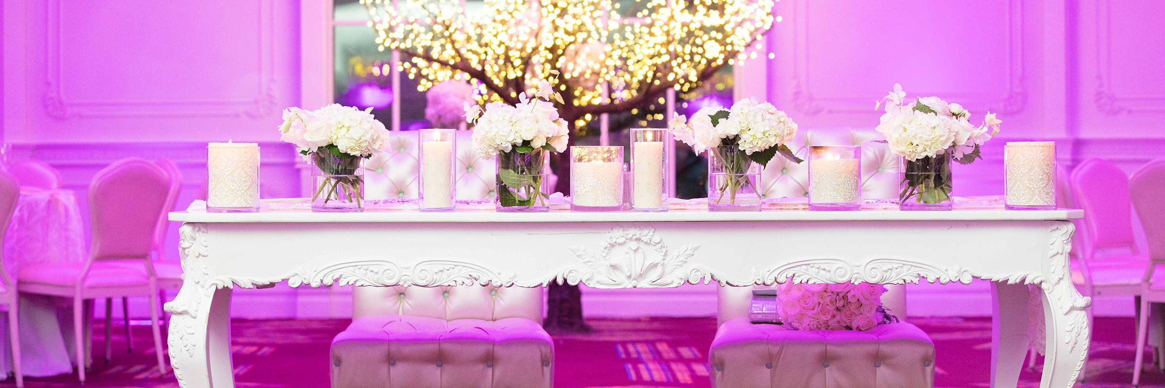 Fresh Flowers Wedding Reception Sweetheart Table