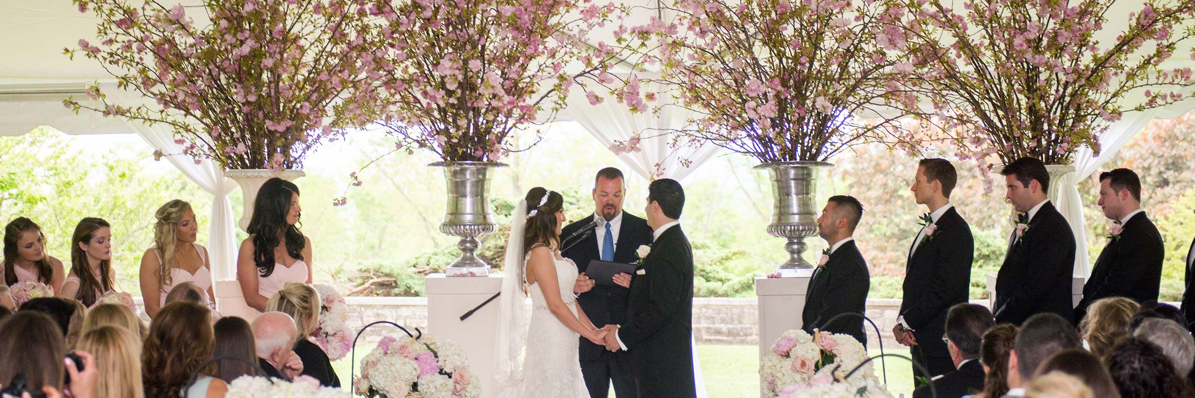 Outdoor Wedding Tent Fresh Flowers Branches