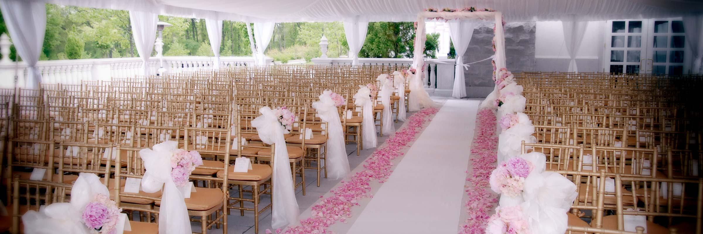 Wedding Aisle Fresh Flowers Petals Outdoor Tent
