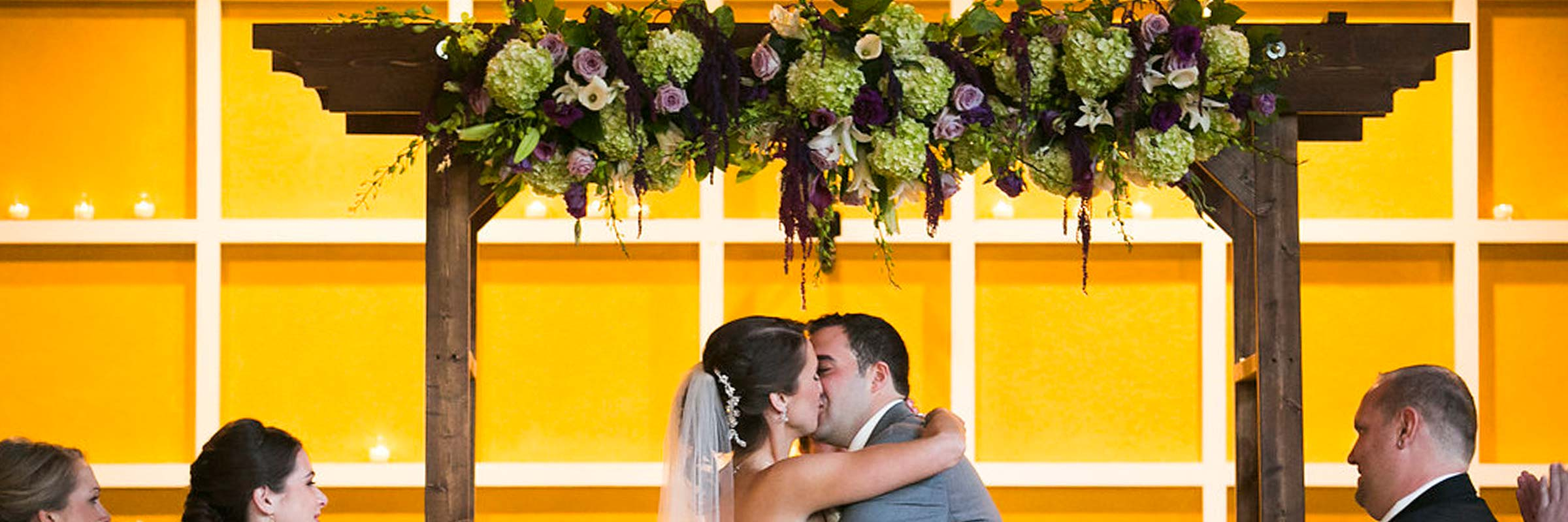 Wedding Arch Fresh Flower Kissing Bride Groom