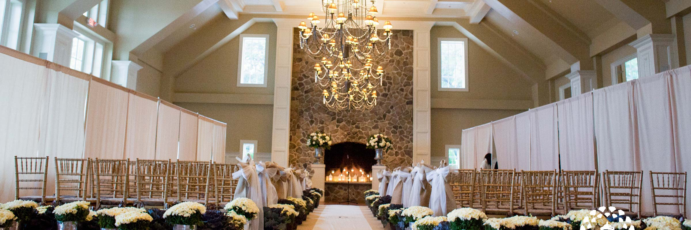 Wedding Ceremony Chandelier Flowers