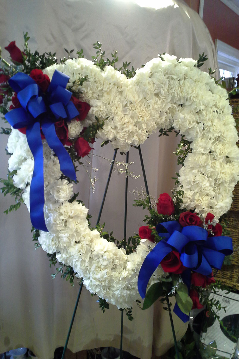 military-red-white-blue-memorial-fresh-flowers