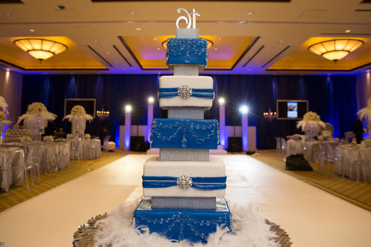 blue-white-cake-jewls-crystals-feathers-dance-floor