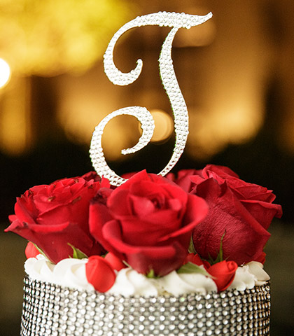 crystal cake topper fresh roses