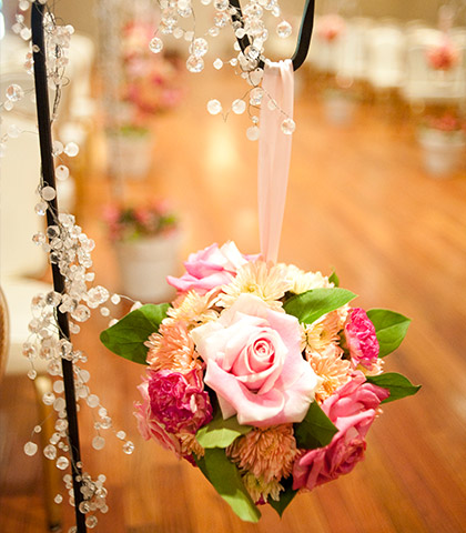 hanging floral roses crystals