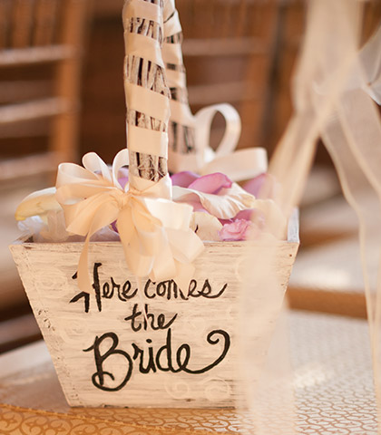 rustic flower girl basket fresh petals